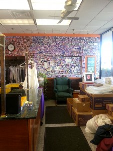 "The original ""customer wall"" at Yes Cleaners. My photo is just above the green chair."